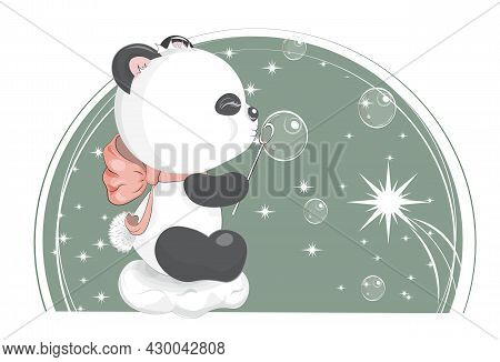 Good Night Baby Teddy Panda Bear With Bow On Cloud And Soap Bubbles, Picture In Hand Drawing Style F