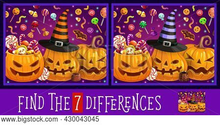 Find Or Spot Differences Education Game, Vector Kid Activity With Halloween Pumpkins And Trick Or Tr