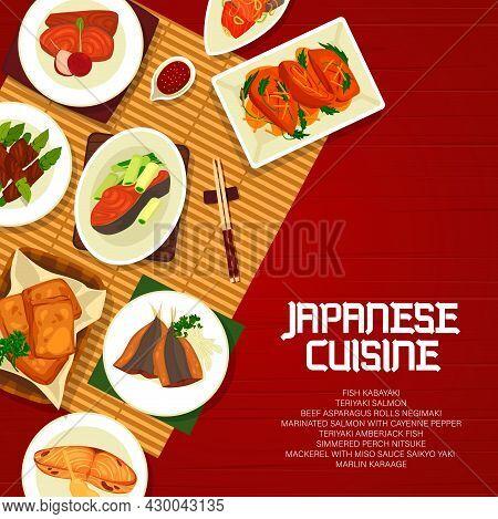 Japanese Cuisine Vector Mackerel With Miso Sauce Saikyo Yaki, Fish Kabayaki, Marinated Salmon With K