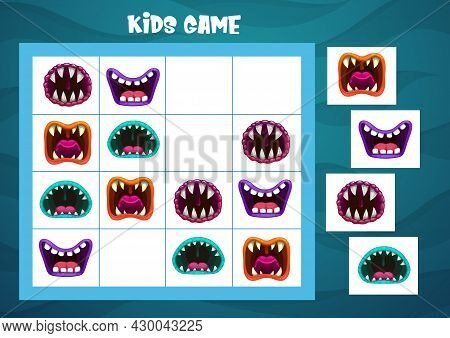 Sudoku Game With Halloween Monster Mouths Vector Template. Children Education Logic Puzzle, Riddle O