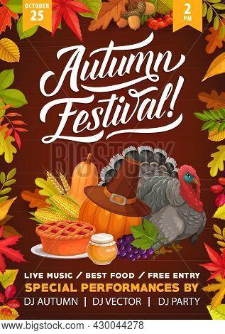 Thanksgiving Autumn Festival Flyer, Cartoon Turkey Bird And Autumn Harvest. Vector Invitation Templa