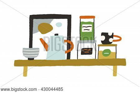Hanging Interior Wall Shelf For Kitchen With Glass Jars, Ceramic Bowl, Cup And Teapot. Modern Furnit