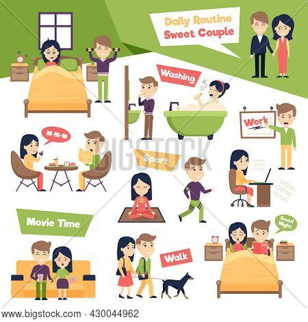 Poster With Images Set Of People Daily Routine Presenting Ordinary Day Of Sweet Couple Cartoon Vecto