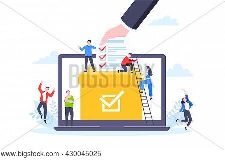 Online Voting Concept Flat Style Design Vector Illustration. Tiny People With Voting Poll Online Sur
