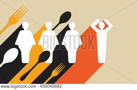 Global Overfat Pandemic Due To Covid-19 Lockdown. Vector Illustration