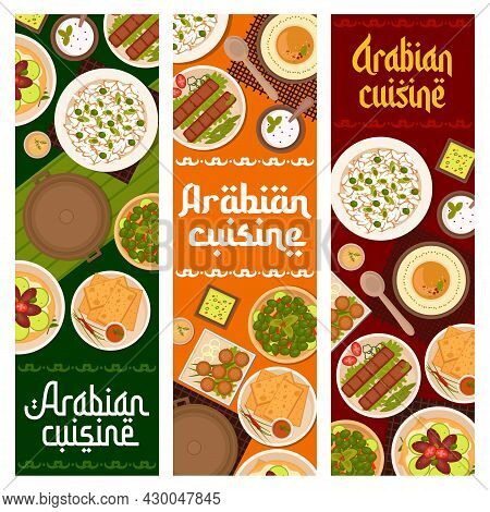 Arabian Food Restaurant Dishes Banners. Pickled Olives, Sour Cream And Matzah With Sauce, Flatbread