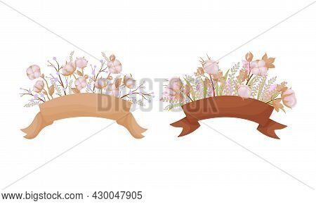 Cotton Flowers With Ribbons Set. Invitation, Greeting Card, Postcard Design Vector Illustration