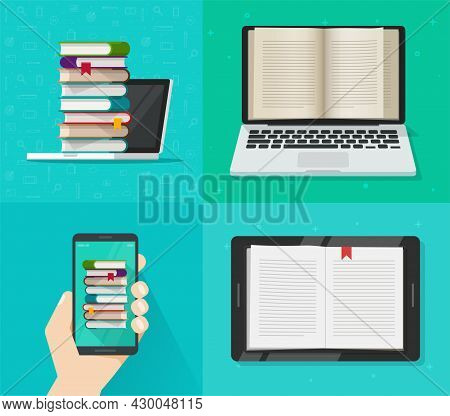 Digital Electronic Books Online Reading Concept On Computer, Cell Phone And Tablet Reader Device Scr
