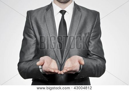 Businessman Cupped Hands
