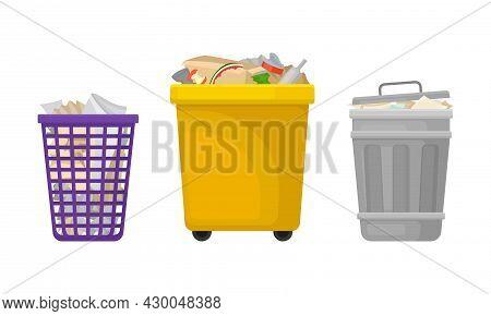 Trash Bins Set. Plastic And Metal Wastebaskets For Household Waste Vector Illustration
