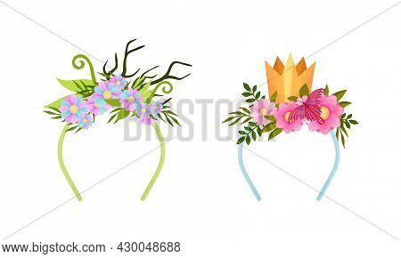 Set Of Headbands With Golden Crown, Deer Antlers And Blooming Flowers Cartoon Vector Illustration