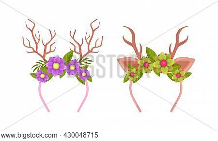 Antlers With Flowers Set. Headbands With Deer Horns With Blooming Flowers And Leaves Cartoon Vector