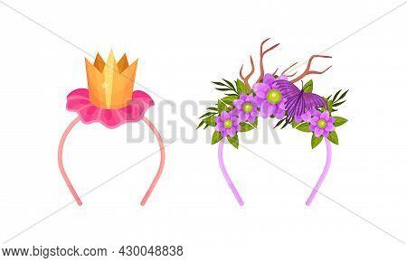 Set Of Headbands With Golden Crown, Deer Antlers, Blooming Flowers And Butterfly Cartoon Vector Illu