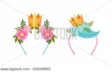 Set Of Headbands With Golden Crown With Blooming Flowers And Strand Of Hair Cartoon Vector Illustrat