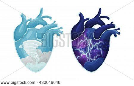 Tornado And Thunderstorm Natural Phenomenon Inside Human Hearts Vector Illustration