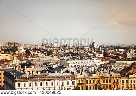 Saint Petersburg City View From Above. View From The Colonnade Of St. Isaac's Cathedral In St. Peter
