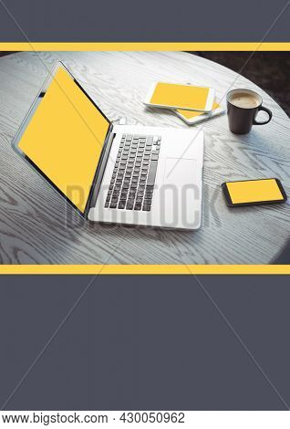 Composition of laptop, smrtphone tablet and coffe on table. business template concept digitally generated image.