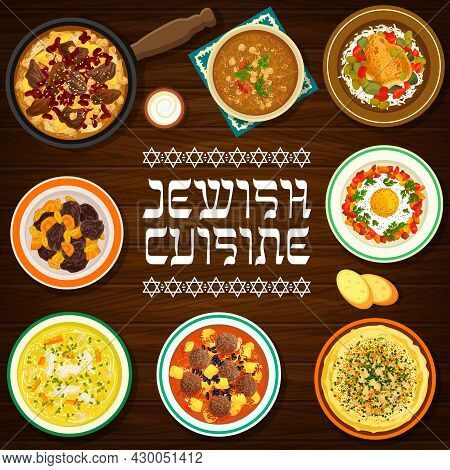 Jewish Cuisine Vector Hummus, Chicken Noodle Soup And Shakshuka, Meatballs With Tomato Sauce, Beef C