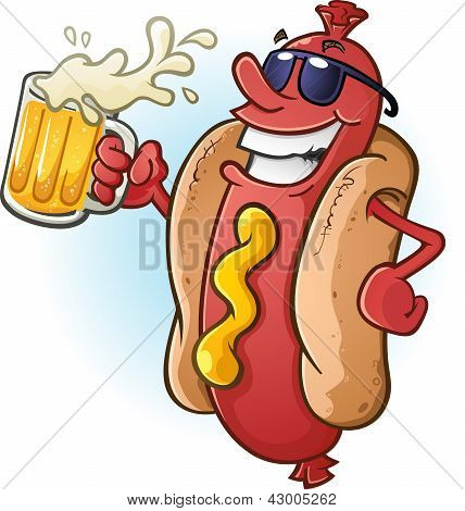 A hot dog character in sunglasses, partying the night away while drinking a tall cold mug of beer! poster