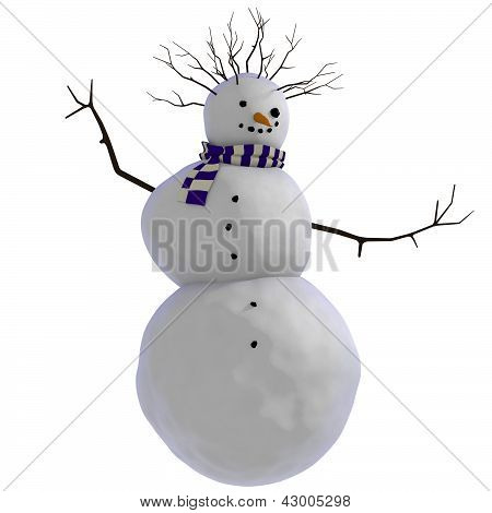 dancing snowman with purple and white striped scarf and twigs for afro haircut