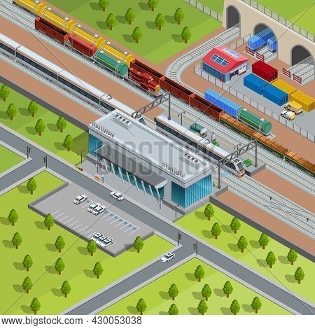 Modern Suburban Railway Station With Passing Passenger Trains Goods Depot And Freight Transport Isom