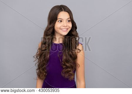 Kid With Curly Hair. Teen Beauty Hairstyle. Express Positive Emotion. Haircare And Skincare.