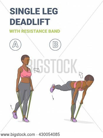 African American Girl Doing Single Leg Deadlift Home Workout Exercise With Resistance Band Guidance.