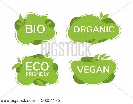 Eco, Bio, Vegan, Organic Tags Isolated On White. Vegan Mark Labels With Green Organic Shapes.
