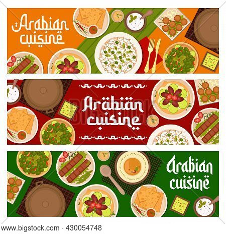 Arabian Cuisine Restaurant Meals Banners. Beef Kebab, Chickpea Falafel And Hummus, Rice With Green O