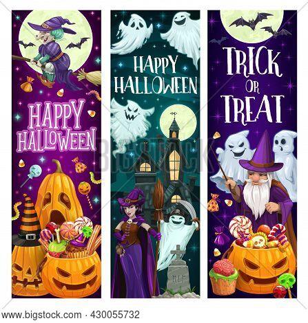 Happy Halloween Cartoon Vector Banners. Witch In Purple Dress Holding Broom, Jack-o-lantern Pumpkin
