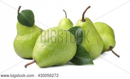 Heap Of Fresh Ripe Pears With Green Leaves On White Background