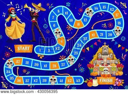 Kids Board Game. Dia De Los Muertos Holiday Celebrating Human Skeletons, Dancing Woman And Mariachi