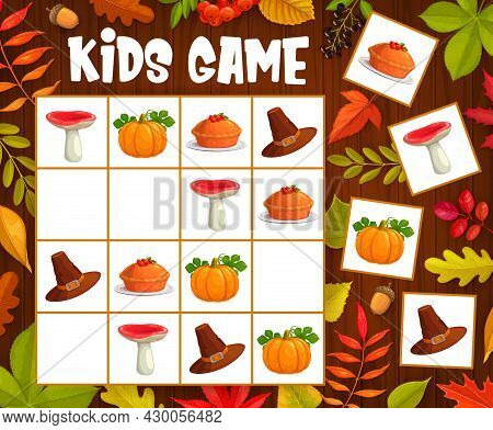 Kids Sudoku Game With Thanksgiving And Autumn Objects. Vector Riddle With Cartoon Mushroom, Hat, Pum
