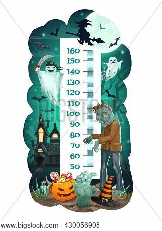 Kids Height Chart With Halloween Monsters And Ghosts Vector Background. Children Growth Meter, Ruler
