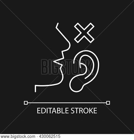 Language Disabilities White Linear Icon For Dark Theme. Physiological Barriers To Communication. Thi