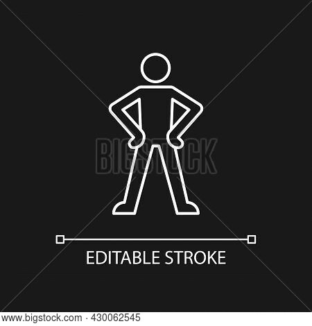 Confidence Body Language White Linear Icon For Dark Theme. Standing In Confident Posture. Thin Line