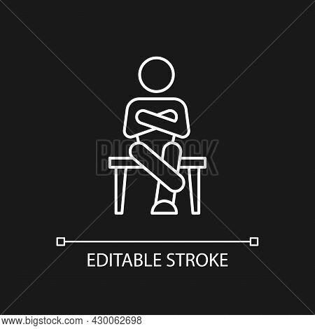 Closed Body Language White Linear Icon For Dark Theme. Crossed Legs, Arms. Showing Discomfort. Thin