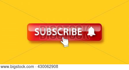 Red Subscribe Button With Ring Bell Isolated On Orange Background. Subscribe Banner Design Template
