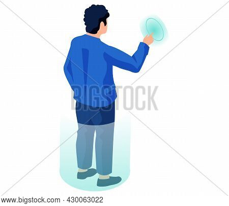Young Guy Stands Back View Presses Finger On Virtual Button Isolated On White Background. Man Is Loo