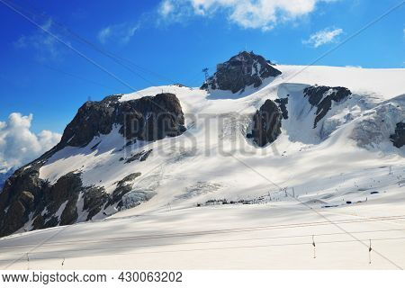 Mountain landscape with Klein Matterhorn. View from Plateau Rosa, Valle d'Aosta, Italy.