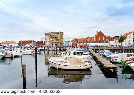 Eckernfoerde, Germany - July 21, 2021: Harbor Of Eckernfoerde In Schleswig-holstein, Germany. Popula