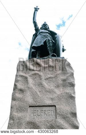 Winchester, United Kingdom, 10th August 2021:- A Statue Of King Alfred The Great, King Of The West S