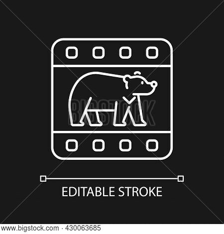Wildlife Documentary White Linear Icon For Dark Theme. Educational Television Series About Animals.