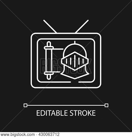 Historical Show White Linear Icon For Dark Theme. Period Drama Tv Series. Streaming Service. Thin Li