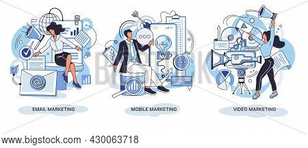 Email And Mobile Marketing. Professional Marketers Service, Advertising Business. Marketing Team Do