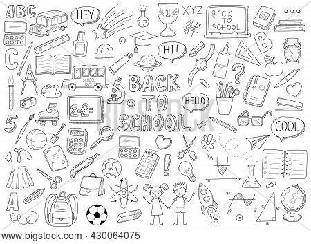 Set Of Doodle Outline Icons Back To School. School Items, Supplies, Stationery, Hand-drawn Black And