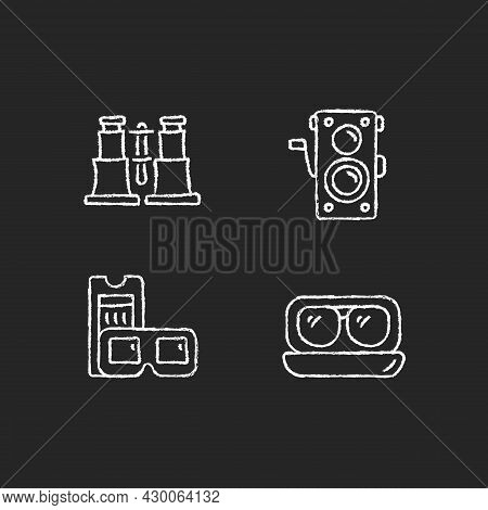 Authentic Vintage Chalk White Icons Set On Dark Background. Collectible Binoculars. Old Photo Camera