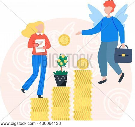 Team Working To Growth Money Finance With Gold Coin Dollar Stack. Angel Investor Startup Community.