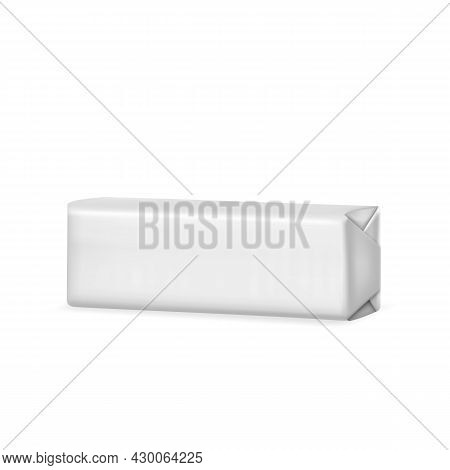 Bubble Gum Product Blank Foil Packaging Vector. Sugar-free Spearmint Chewing Bubble Gum Glossy Packi