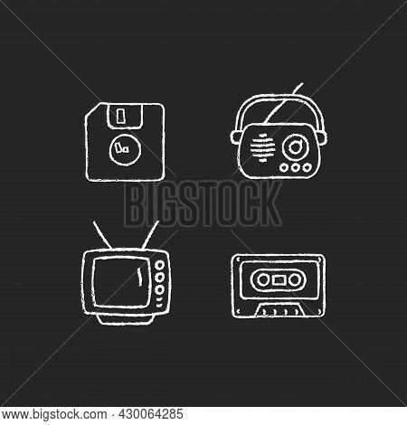Collectible Vintage Stuff Chalk White Icons Set On Dark Background. Floppy Disk. Antique Radio. Tv M